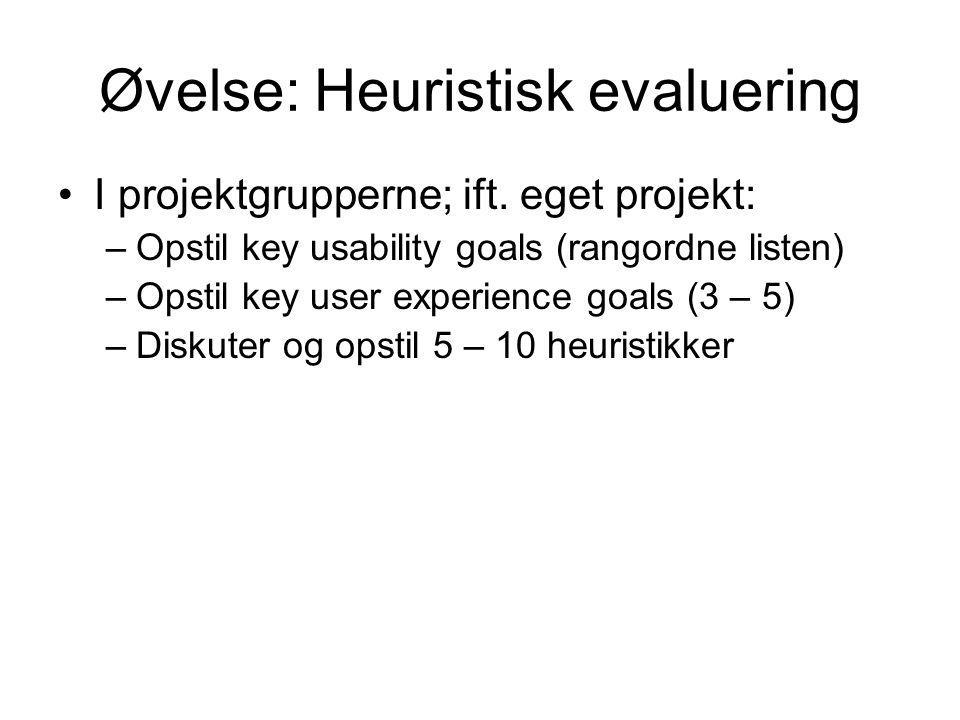 Øvelse: Heuristisk evaluering I projektgrupperne; ift.