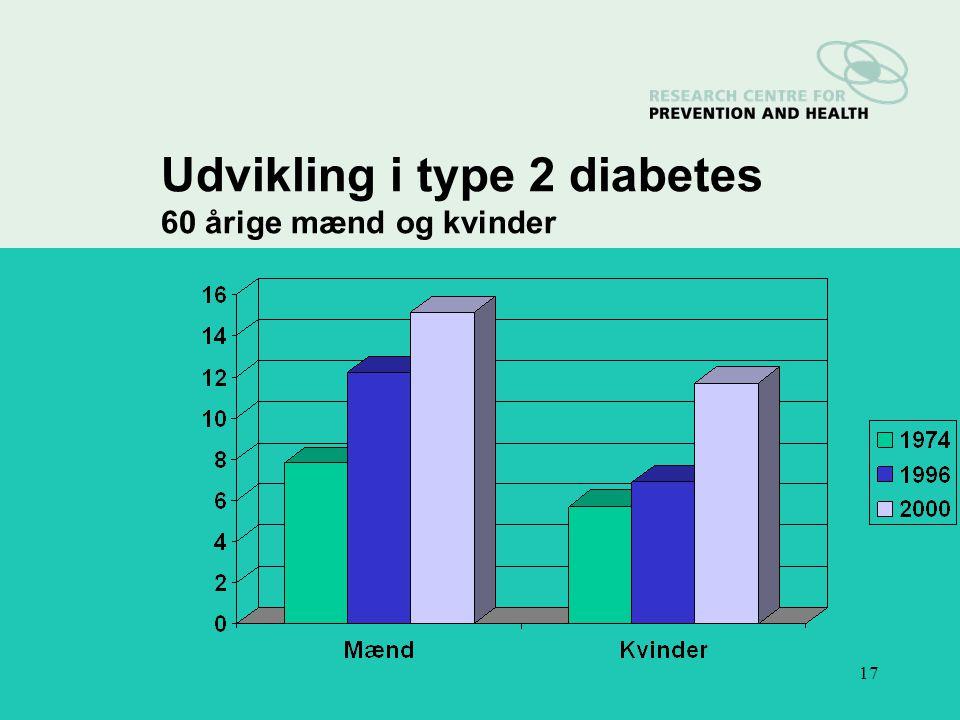 17 Udvikling i type 2 diabetes 60 årige mænd og kvinder