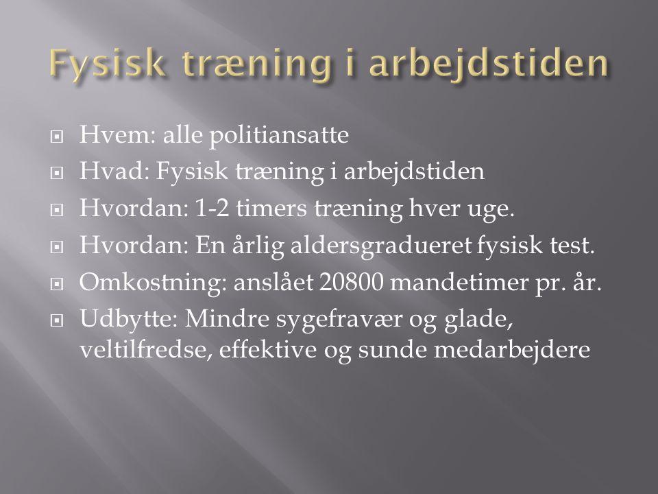  Hvem: alle politiansatte  Hvad: Fysisk træning i arbejdstiden  Hvordan: 1-2 timers træning hver uge.
