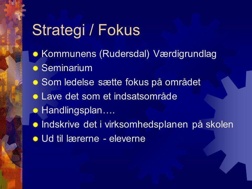 Strategi / Fokus  Kommunens (Rudersdal) Værdigrundlag  Seminarium  Som ledelse sætte fokus på området  Lave det som et indsatsområde  Handlingsplan….