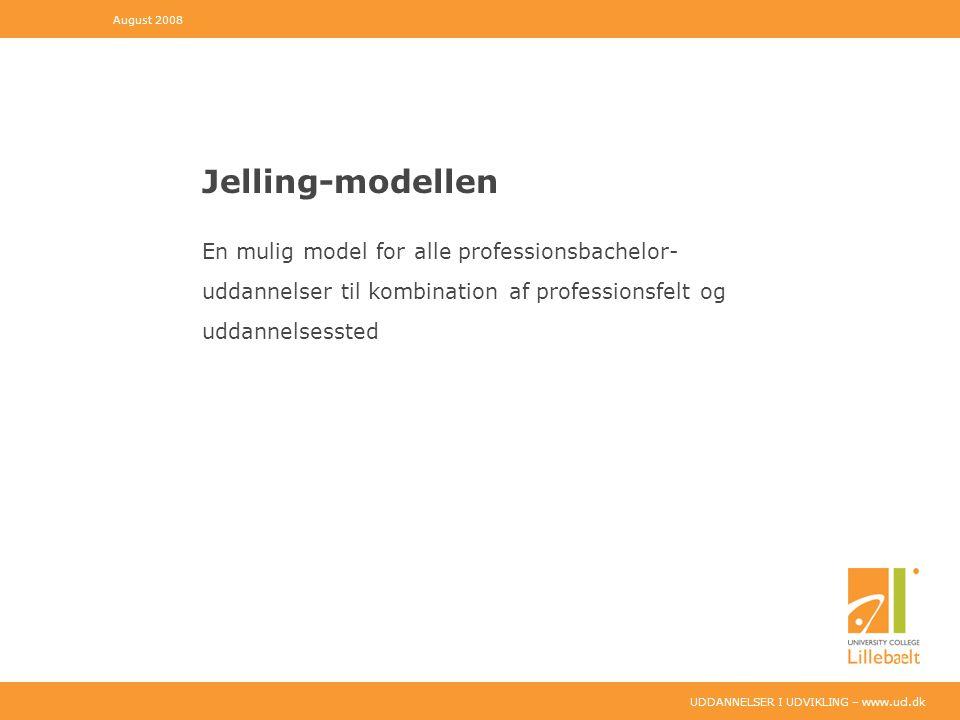 UDDANNELSER I UDVIKLING – www.ucl.dk Jelling-modellen En mulig model for alle professionsbachelor- uddannelser til kombination af professionsfelt og uddannelsessted August 2008