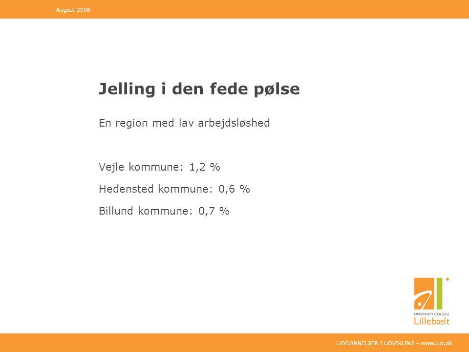 UDDANNELSER I UDVIKLING – www.ucl.dk Jelling i den fede pølse En region med lav arbejdsløshed Vejle kommune: 1,2 % Hedensted kommune: 0,6 % Billund kommune: 0,7 % August 2008