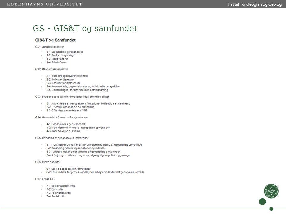 Institut for Geografi og Geologi GS - GIS&T og samfundet