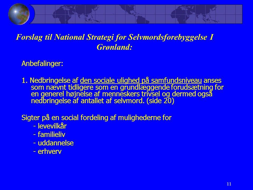11 Forslag til National Strategi for Selvmordsforebyggelse I Grønland: Anbefalinger: 1.