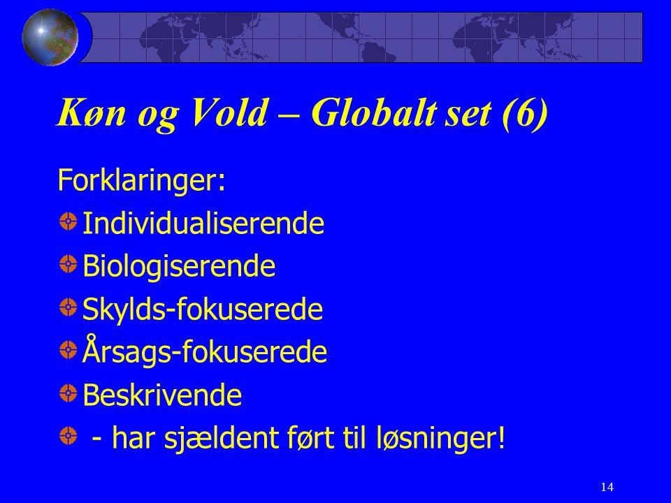 14 Køn og Vold – Globalt set (6) Forklaringer: Individualiserende Biologiserende Skylds-fokuserede Årsags-fokuserede Beskrivende - har sjældent ført til løsninger!