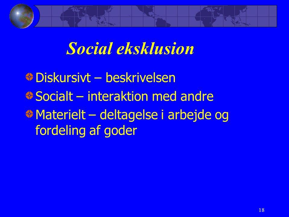 18 Social eksklusion Diskursivt – beskrivelsen Socialt – interaktion med andre Materielt – deltagelse i arbejde og fordeling af goder