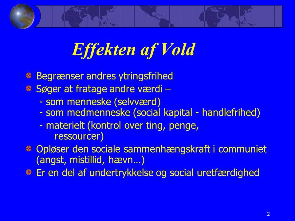 2 Effekten af Vold Begrænser andres ytringsfrihed Søger at fratage andre værdi – - som menneske (selvværd) - som medmenneske (social kapital - handlefrihed) - materielt (kontrol over ting, penge, ressourcer) Opløser den sociale sammenhængskraft i communiet (angst, mistillid, hævn…) Er en del af undertrykkelse og social uretfærdighed