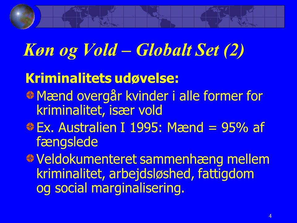 4 Køn og Vold – Globalt Set (2) Kriminalitets udøvelse: Mænd overgår kvinder i alle former for kriminalitet, især vold Ex.