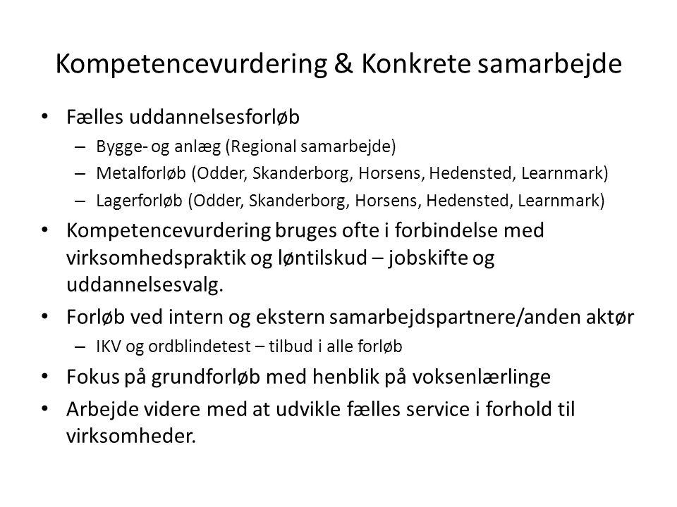 Kompetencevurdering & Konkrete samarbejde Fælles uddannelsesforløb – Bygge- og anlæg (Regional samarbejde) – Metalforløb (Odder, Skanderborg, Horsens, Hedensted, Learnmark) – Lagerforløb (Odder, Skanderborg, Horsens, Hedensted, Learnmark) Kompetencevurdering bruges ofte i forbindelse med virksomhedspraktik og løntilskud – jobskifte og uddannelsesvalg.