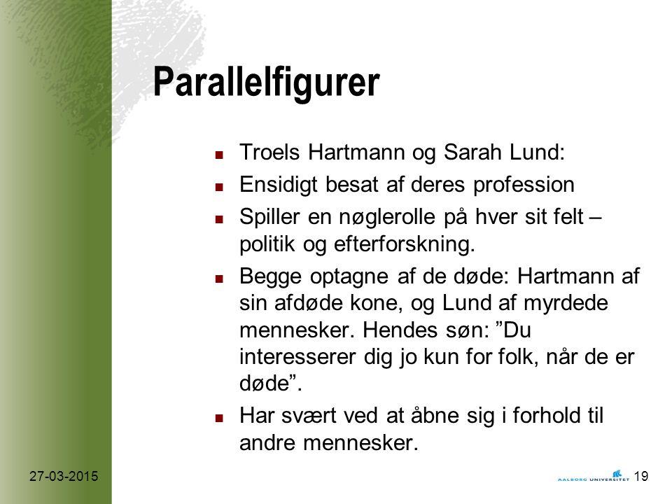 Parallelfigurer Troels Hartmann og Sarah Lund: Ensidigt besat af deres profession Spiller en nøglerolle på hver sit felt – politik og efterforskning.