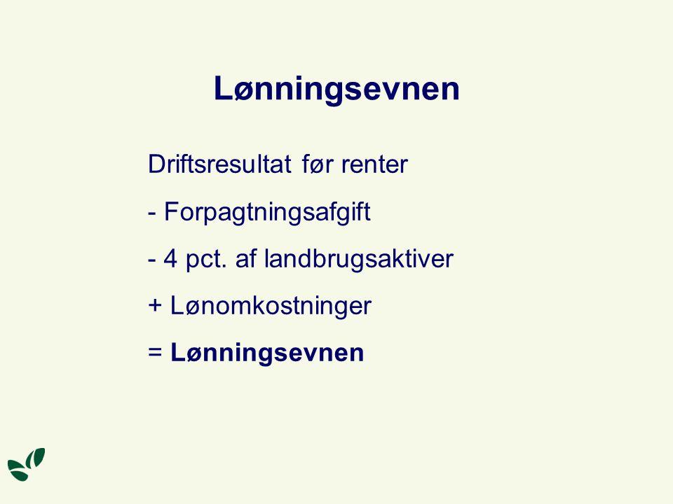 Lønningsevnen Driftsresultat før renter - Forpagtningsafgift - 4 pct.