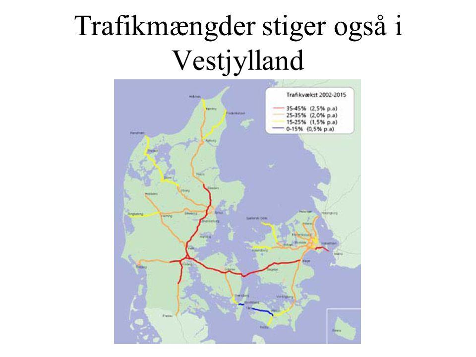 Trafikmængder stiger også i Vestjylland