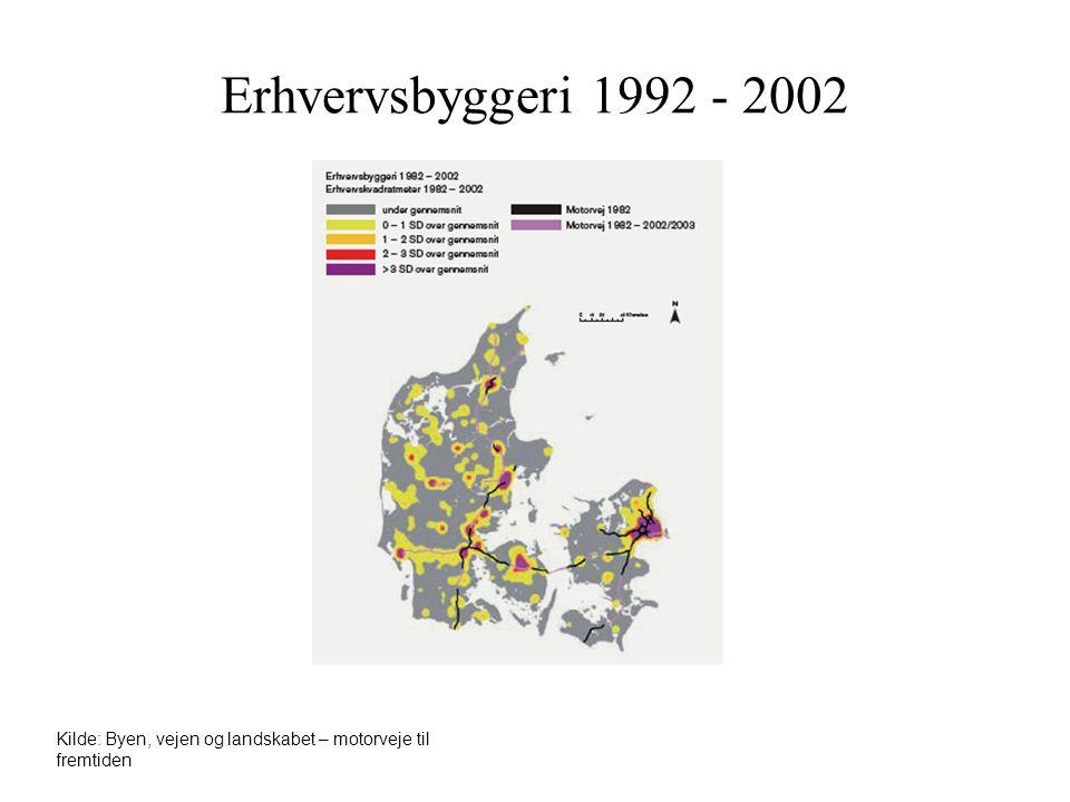 Erhvervsbyggeri 1992 - 2002 Kilde: Byen, vejen og landskabet – motorveje til fremtiden