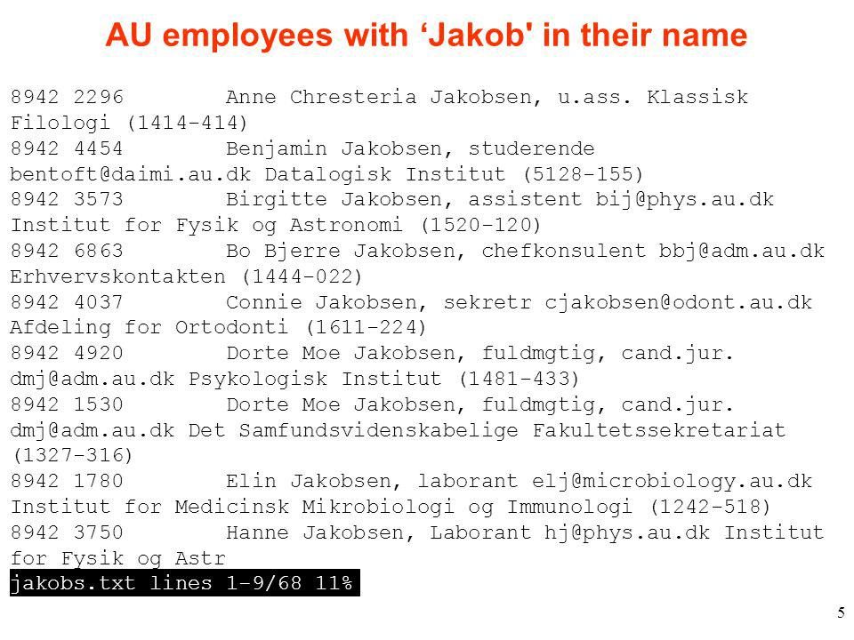 5 AU employees with 'Jakob in their name 8942 2296 Anne Chresteria Jakobsen, u.ass.