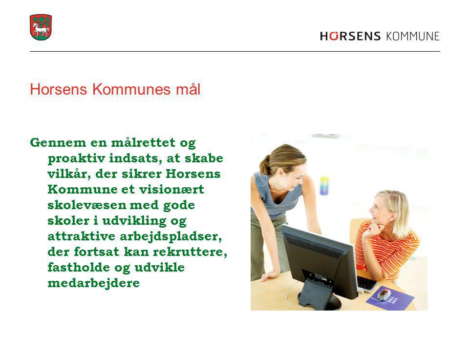 Horsens Kommunes mål Gennem en målrettet og proaktiv indsats, at skabe vilkår, der sikrer Horsens Kommune et visionært skolevæsen med gode skoler i udvikling og attraktive arbejdspladser, der fortsat kan rekruttere, fastholde og udvikle medarbejdere