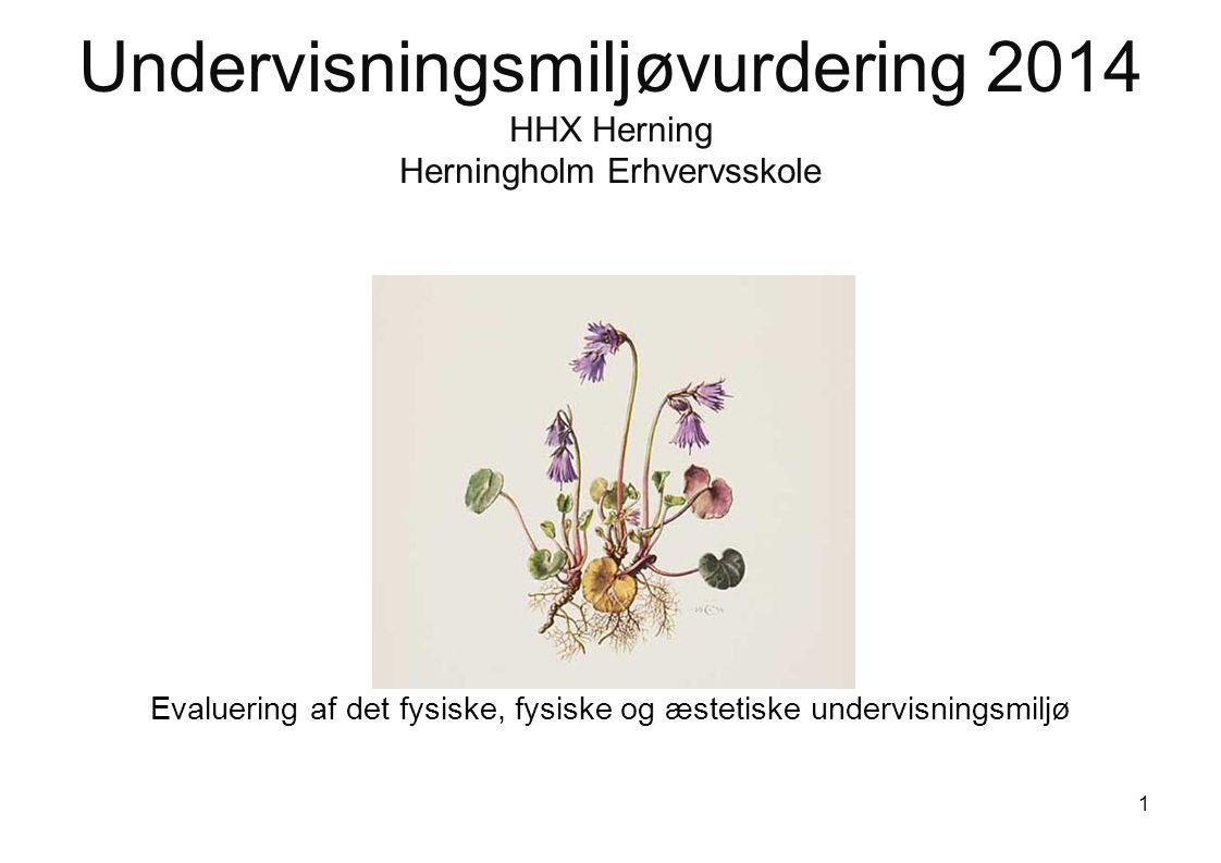Undervisningsmiljøvurdering 2014 HHX Herning Herningholm Erhvervsskole Evaluering af det fysiske, fysiske og æstetiske undervisningsmiljø 1