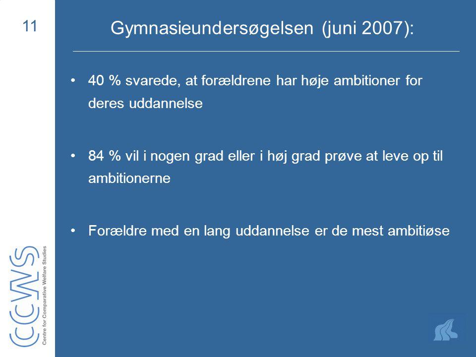 11 Gymnasieundersøgelsen (juni 2007): 40 % svarede, at forældrene har høje ambitioner for deres uddannelse 84 % vil i nogen grad eller i høj grad prøve at leve op til ambitionerne Forældre med en lang uddannelse er de mest ambitiøse