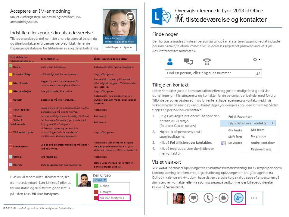 © 2012 Microsoft Corporation. Alle rettigheder forbeholdes.