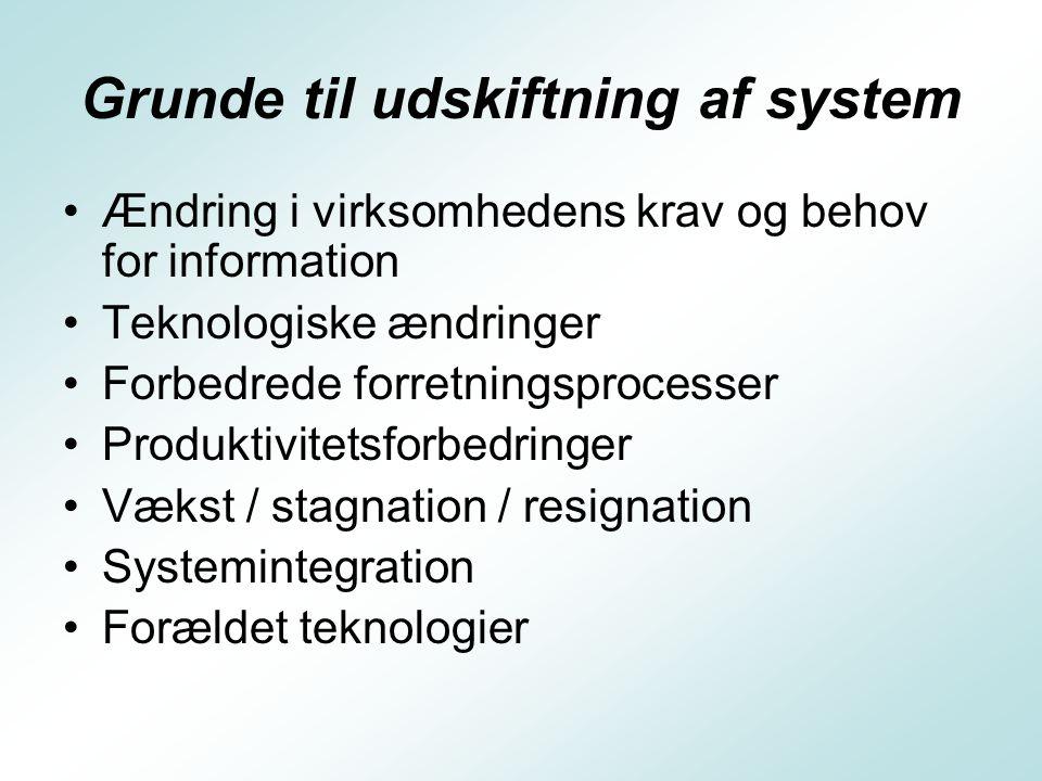 Systemudviklingslivscyklus Systemanalyse – helhedsanalyse over hvilke opgaver systemet skal løse, hvordan datagrundlaget skaffes samt hvilke brugere der skal betjene systemet.