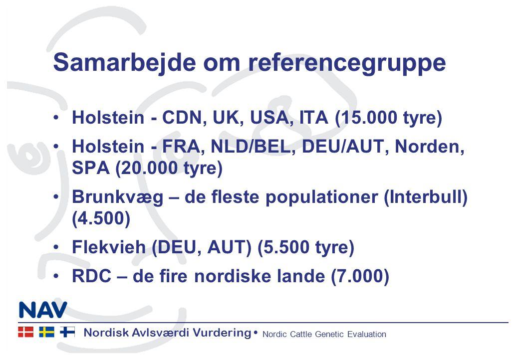 Nordisk Avlsværdi Vurdering Nordic Cattle Genetic Evaluation Samarbejde om referencegruppe Holstein - CDN, UK, USA, ITA (15.000 tyre) Holstein - FRA, NLD/BEL, DEU/AUT, Norden, SPA (20.000 tyre) Brunkvæg – de fleste populationer (Interbull) (4.500) Flekvieh (DEU, AUT) (5.500 tyre) RDC – de fire nordiske lande (7.000)