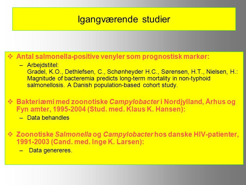 Igangværende studier  Antal salmonella-positive venyler som prognostisk markør: –Arbejdstitel: Gradel, K.O., Dethlefsen, C., Schønheyder H.C., Sørensen, H.T., Nielsen, H.: Magnitude of bacteremia predicts long-term mortality in non-typhoid salmonellosis.