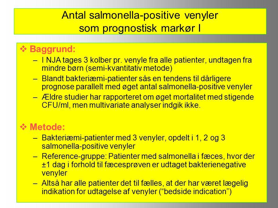 Antal salmonella-positive venyler som prognostisk markør I  Baggrund: –I NJA tages 3 kolber pr.