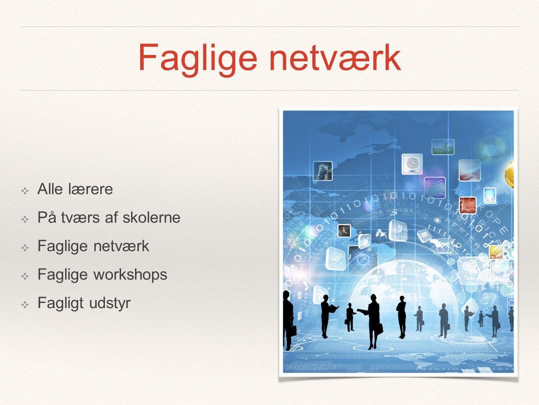 Faglige netværk ❖ Alle lærere ❖ På tværs af skolerne ❖ Faglige netværk ❖ Faglige workshops ❖ Fagligt udstyr