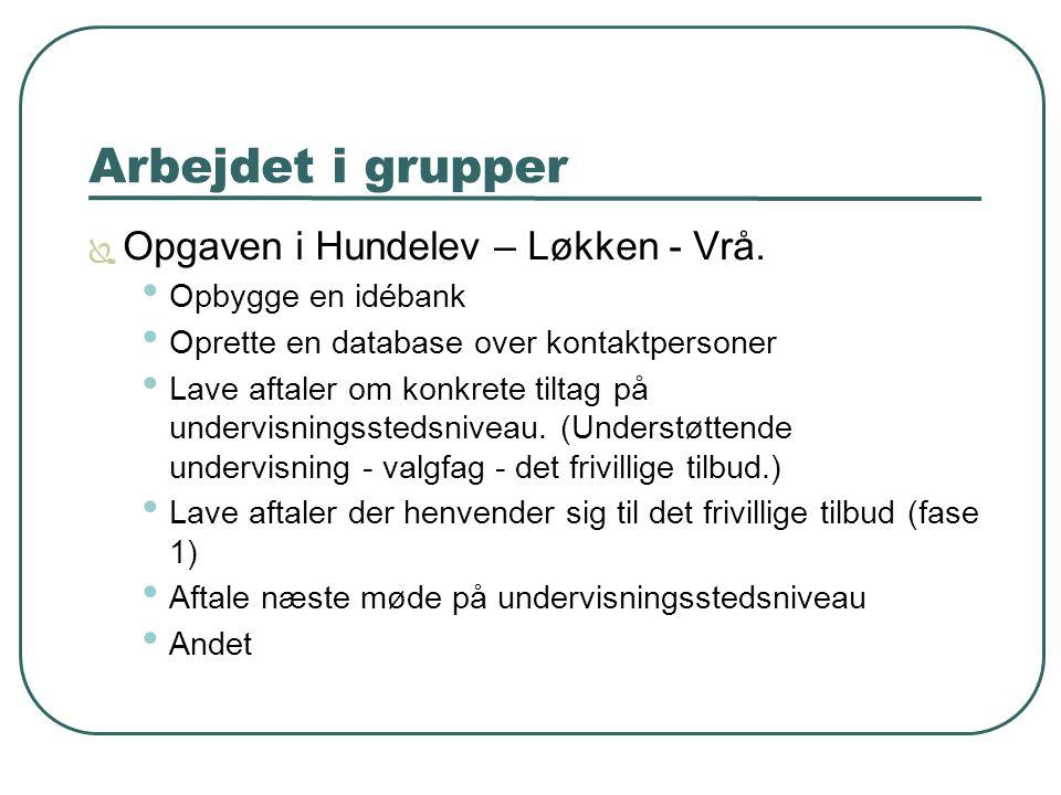 Arbejdet i grupper  Opgaven i Hundelev – Løkken - Vrå.
