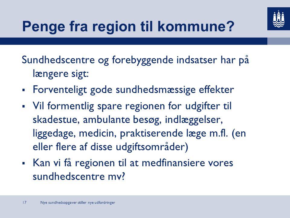 Nye sundhedsopgaver stiller nye udfordringer17 Penge fra region til kommune.