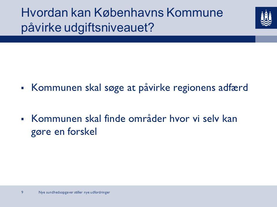 Nye sundhedsopgaver stiller nye udfordringer9 Hvordan kan Københavns Kommune påvirke udgiftsniveauet.