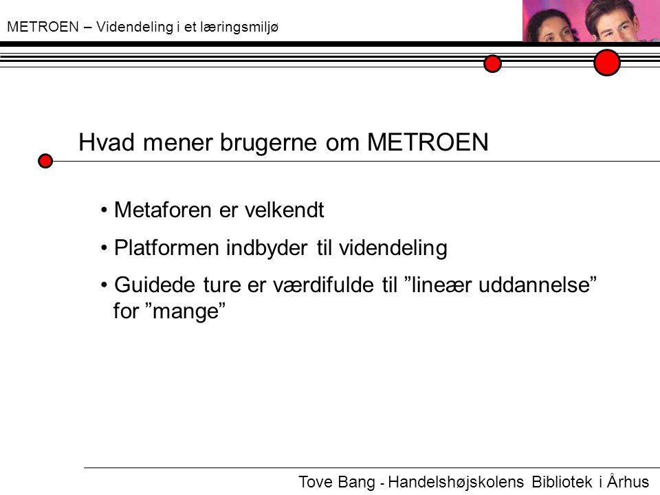 METROEN – Videndeling i et læringsmiljø Hvad mener brugerne om METROEN Metaforen er velkendt.