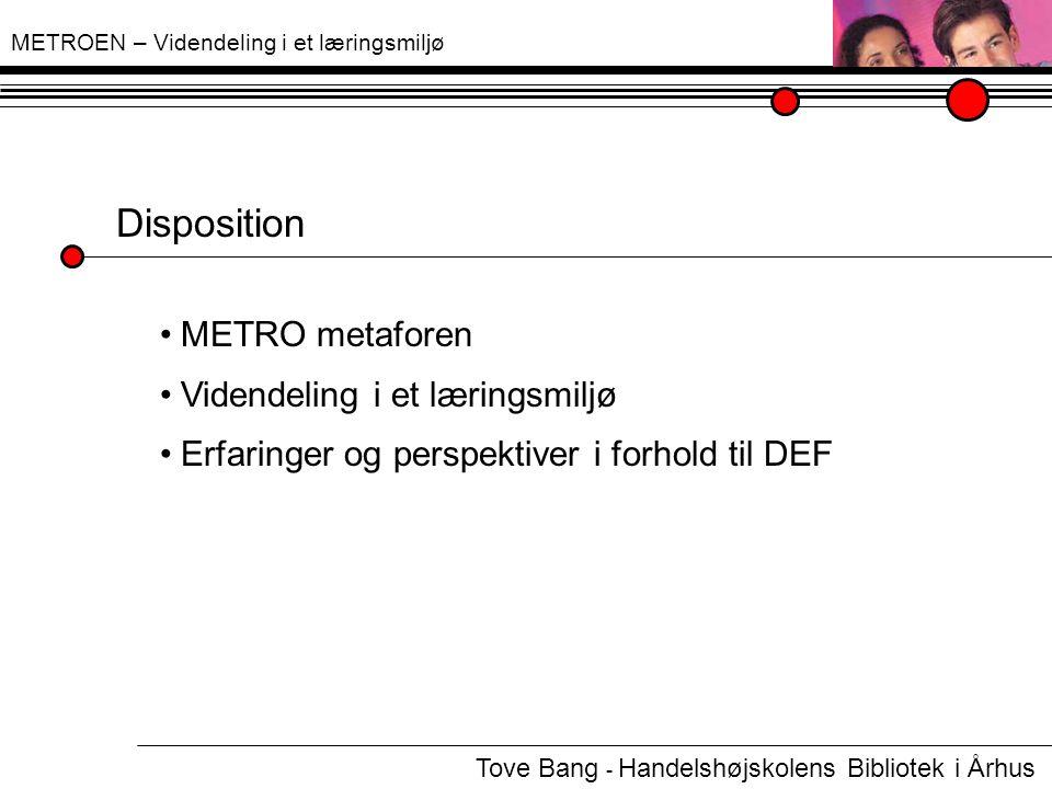 METROEN – Videndeling i et læringsmiljø Disposition METRO metaforen c Videndeling i et læringsmiljø c Erfaringer og perspektiver i forhold til DEF c Tove Bang - Handelshøjskolens Bibliotek i Århus