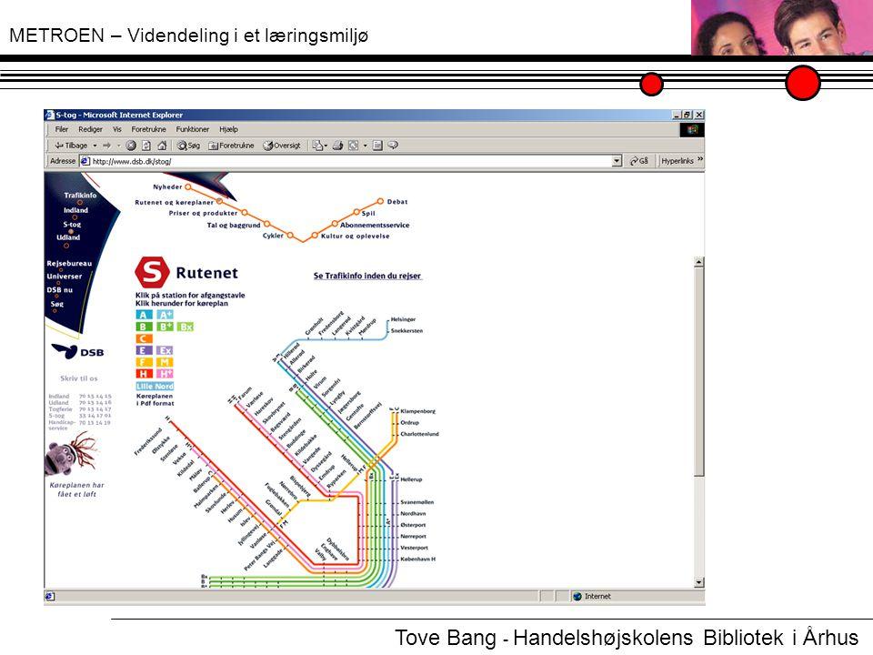 METROEN – Videndeling i et læringsmiljø Tove Bang - Handelshøjskolens Bibliotek i Århus