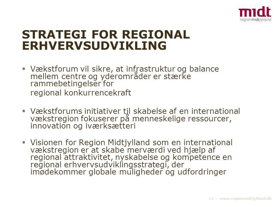 11 ▪ www.regionmidtjylland.dk STRATEGI FOR REGIONAL ERHVERVSUDVIKLING  Vækstforum vil sikre, at infrastruktur og balance mellem centre og yderområder er stærke rammebetingelser for regional konkurrencekraft  Vækstforums initiativer til skabelse af en international vækstregion fokuserer på menneskelige ressourcer, innovation og iværksætteri  Visionen for Region Midtjylland som en international vækstregion er at skabe merværdi ved hjælp af regional attraktivitet, nyskabelse og kompetence en regional erhvervsudviklingsstrategi, der imødekommer globale muligheder og udfordringer