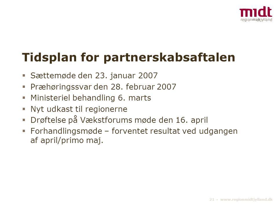 21 ▪ www.regionmidtjylland.dk Tidsplan for partnerskabsaftalen  Sættemøde den 23.