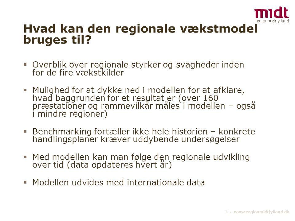 3 ▪ www.regionmidtjylland.dk Hvad kan den regionale vækstmodel bruges til.