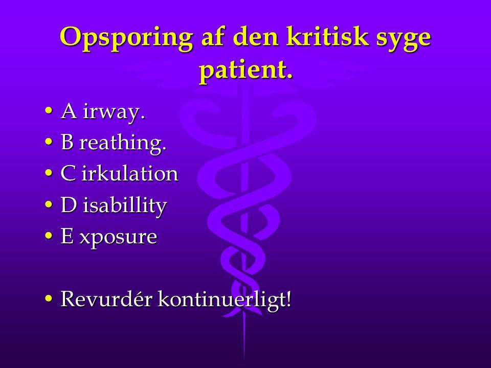 Opsporing af den kritisk syge patient. A irway.A irway. B reathing.B reathing. C irkulationC irkulation D isabillityD isabillity E xposureE xposure Re