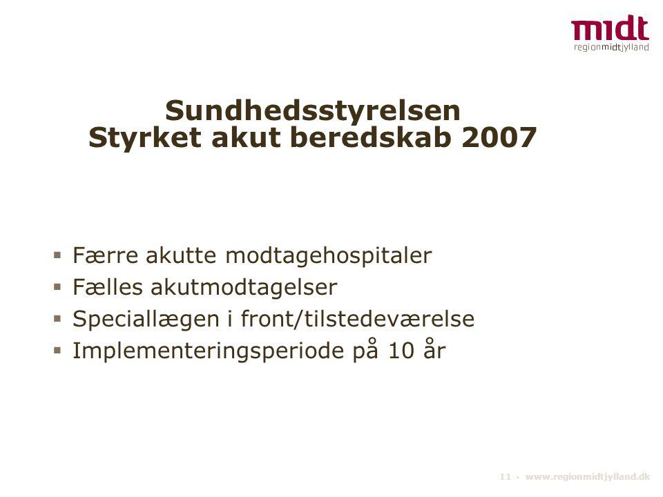 11 ▪ www.regionmidtjylland.dk Sundhedsstyrelsen Styrket akut beredskab 2007  Færre akutte modtagehospitaler  Fælles akutmodtagelser  Speciallægen i front/tilstedeværelse  Implementeringsperiode på 10 år