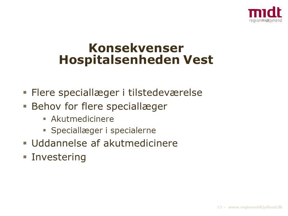 15 ▪ www.regionmidtjylland.dk Konsekvenser Hospitalsenheden Vest  Flere speciallæger i tilstedeværelse  Behov for flere speciallæger  Akutmedicinere  Speciallæger i specialerne  Uddannelse af akutmedicinere  Investering