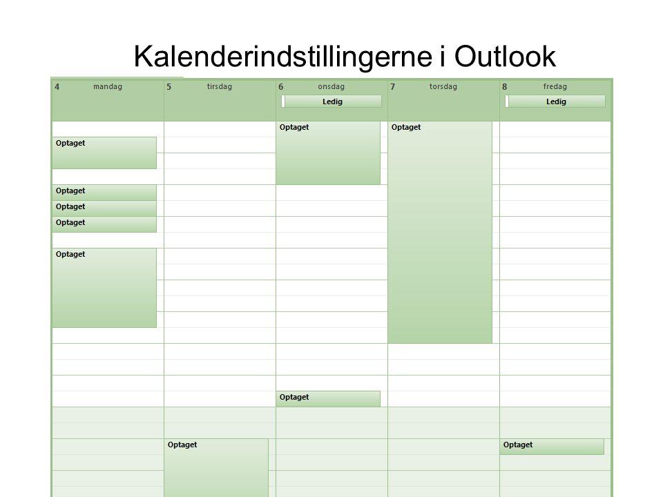 Kalenderindstillingerne i Outlook