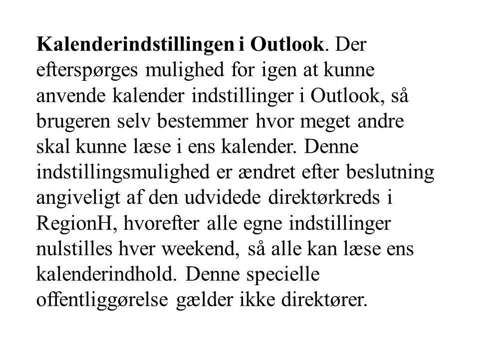 Kalenderindstillingen i Outlook.