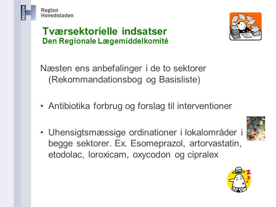 Tværsektorielle indsatser Den Regionale Lægemiddelkomité Næsten ens anbefalinger i de to sektorer (Rekommandationsbog og Basisliste) Antibiotika forbrug og forslag til interventioner Uhensigtsmæssige ordinationer i lokalområder i begge sektorer.