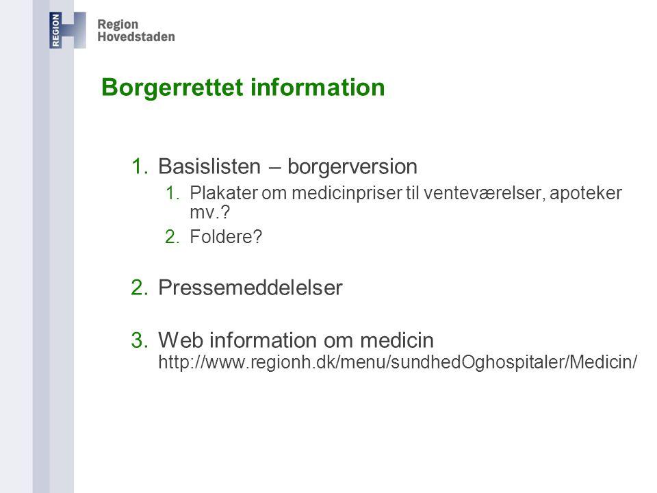 1.Basislisten – borgerversion 1.Plakater om medicinpriser til venteværelser, apoteker mv..
