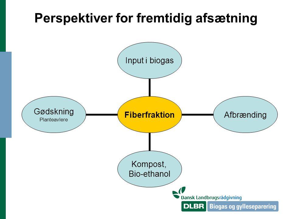 Perspektiver for fremtidig afsætning Fiberfraktion Input i biogas Afbrænding Kompost, Bio-ethanol Gødskning Planteavlere