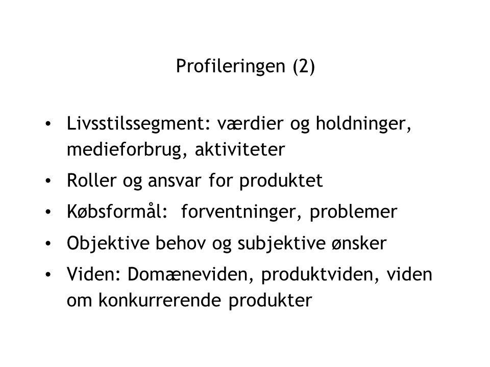 Profileringen (2) Livsstilssegment: værdier og holdninger, medieforbrug, aktiviteter Roller og ansvar for produktet Købsformål: forventninger, problemer Objektive behov og subjektive ønsker Viden: Domæneviden, produktviden, viden om konkurrerende produkter
