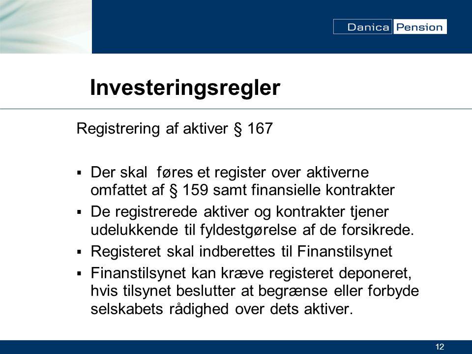 12 Investeringsregler Registrering af aktiver § 167  Der skal føres et register over aktiverne omfattet af § 159 samt finansielle kontrakter  De registrerede aktiver og kontrakter tjener udelukkende til fyldestgørelse af de forsikrede.