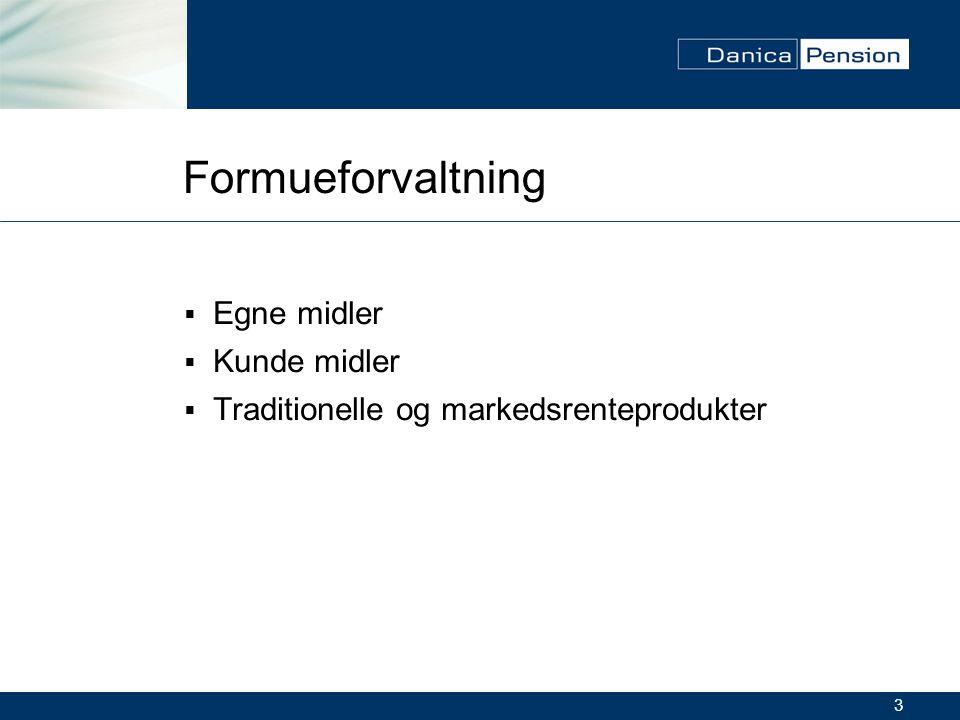 3 Formueforvaltning  Egne midler  Kunde midler  Traditionelle og markedsrenteprodukter