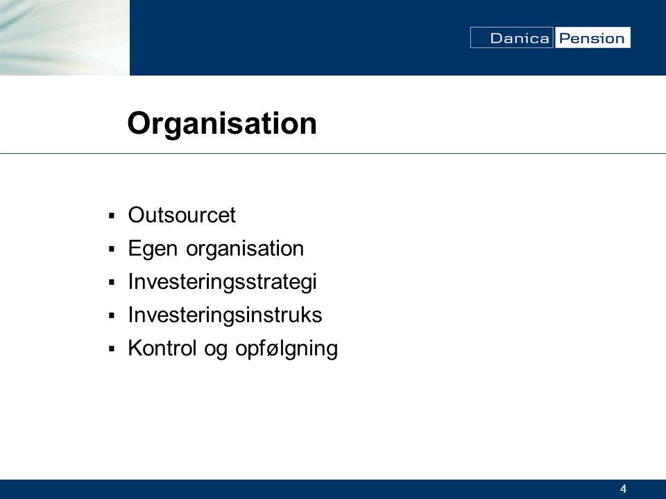 4 Organisation  Outsourcet  Egen organisation  Investeringsstrategi  Investeringsinstruks  Kontrol og opfølgning
