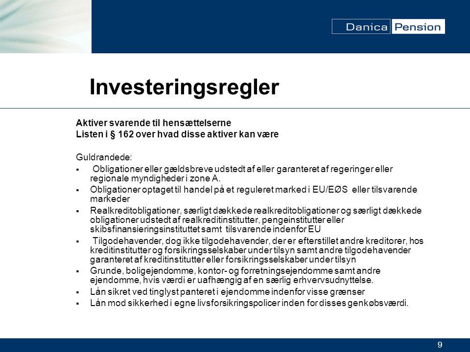 9 Investeringsregler Aktiver svarende til hensættelserne Listen i § 162 over hvad disse aktiver kan være Guldrandede:  Obligationer eller gældsbreve udstedt af eller garanteret af regeringer eller regionale myndigheder i zone A.