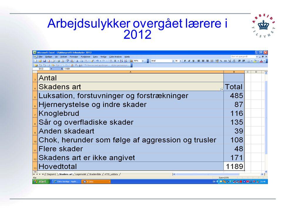 Arbejdsulykker overgået lærere i 2012